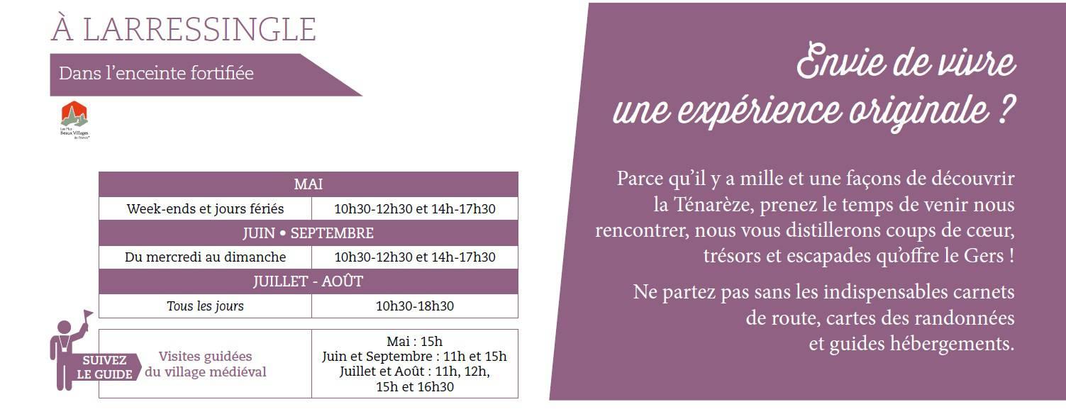 horaires Offices de Tourisme et visites guidées à Larressingle dans le Gers
