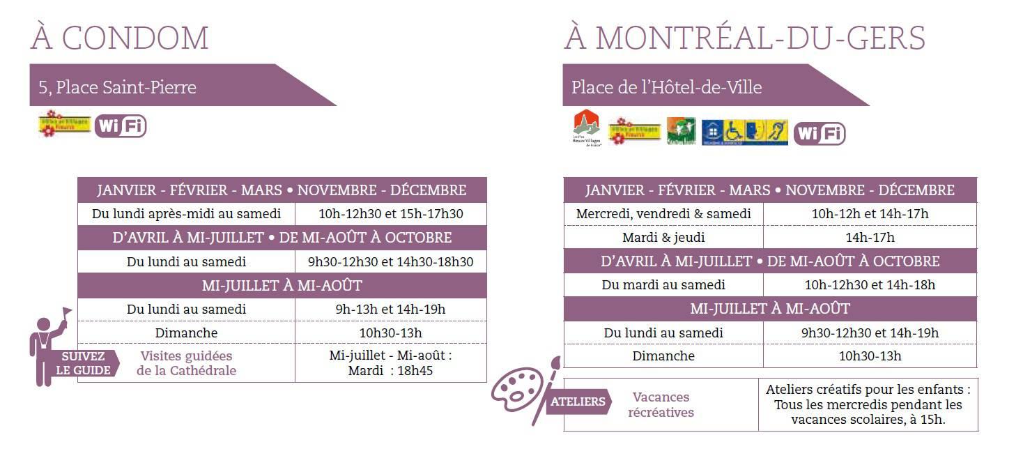 horaires Offices de Tourisme Condom et  Montréal-du-Gers