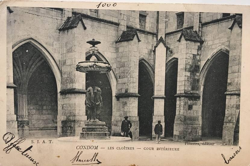 Le cloître de Condom et la statue des 3 Grâces- Photo ancienne Fenestra