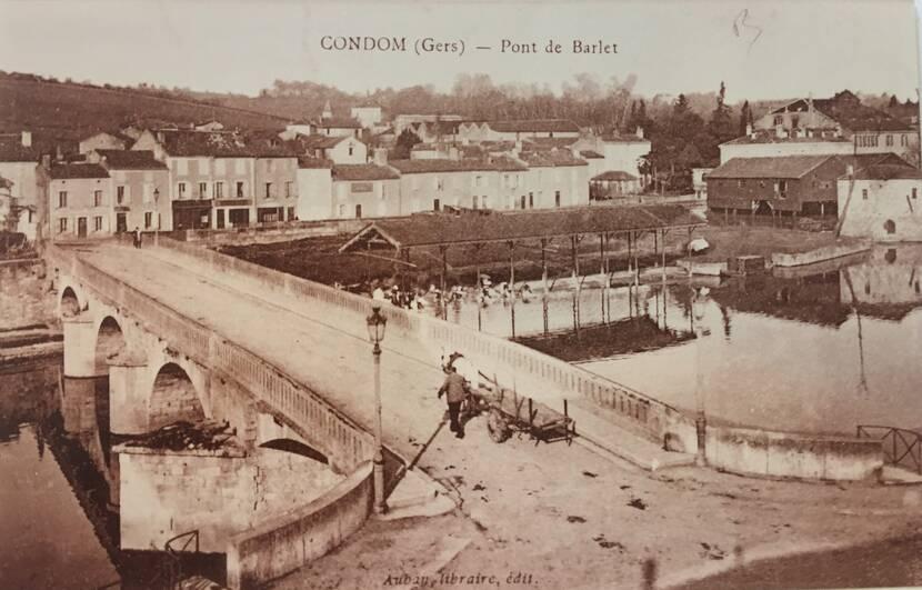 Pont Barlet sur la rivière Baïse à Condom - Photo ancienne Fenestra