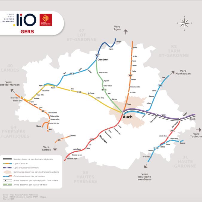 Carte des trajets de bus dans le Gers